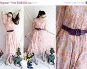 SALE VTG - Flowers of India - floral print full skirt dress and harem pant set - size s m l