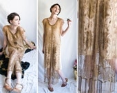 R E S E R V E D 20s - Egyptian Ella - gold copper toned beaded mesh tunic  tabard art deco party or wedding  flapper dress  s m