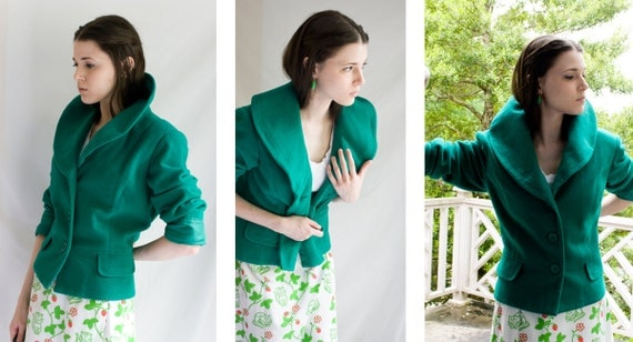 80s does 50s -  SALE emerald green - shawl collar - romantic opera pop up  collar -  3 button  long sleeve jacket  - size small medium