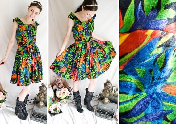 80s - Fires of Paradise - wild floral print boat neck swing dress - full skirt - size  m