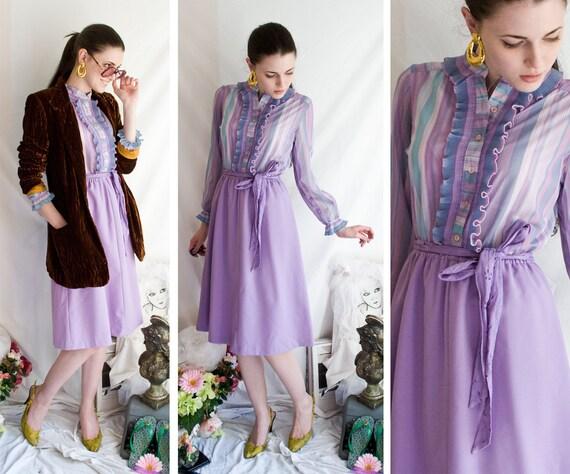 70s - Mr Lilacs Librarian - purple long sleeve shirt waist ruffle front button up dress - size s m