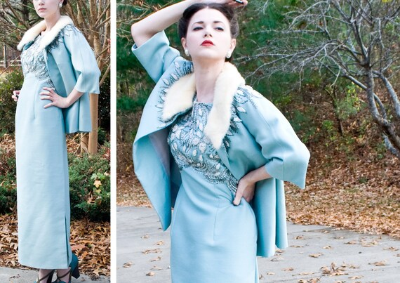 R E S E R V E D DEAL of the day - 60s - The Red Carpet - ice blue maxi dress and matching jacket heavily beaded with white mink  - size m l