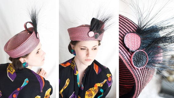 80s - Ruby Rhods Hostess Cupcake - pink & black mod style woven hat