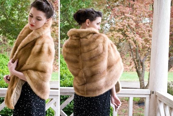 50s - Shrug It Off -  honey or ginger mink shrug with shawl collar