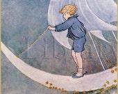 Set Sail - Custom Bookplates -  Vintage - Moon - Ocean Waves - Sailboat