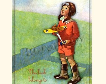 ADHESIVE Personalized Bookplates - Boy and his Plane - Great Gift for Boy