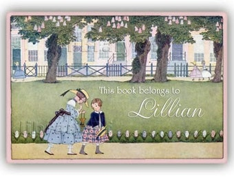 Personalized Adhesive Bookplates - Sisters On A Walk - Vintage Bookplate Design - Green Lawns - Park