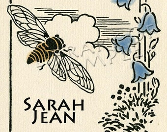 Bees and Bluebells - Vintage - Personalized ADHESIVE Bookplate
