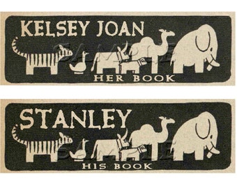 Animals In Black and Tan - Adhesive Personalized Vintage Bookplate