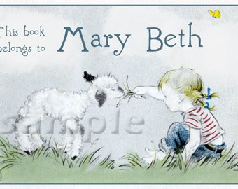 Lunch With A Friend - A Girl and her lamb - Personalized ADHESIVE Bookplate - STICKER