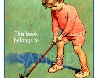 The Little Golfer - Personalized Bookplates -   Great for Photo albums, Journals, Scrapbooks