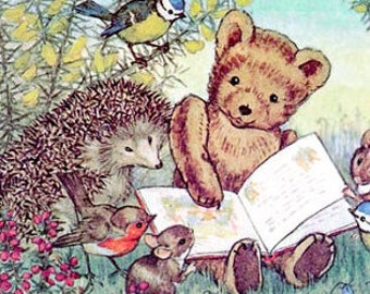 Freindly Story - ADHESIVE Bookplates -  Personalized Bookplates  - Teddy Bear - Hedgehog - STICKERS
