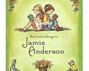 Reading Buddies - ADHESIVE Backed Personalized Bookplate - Vintage Style Bookplates