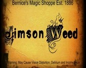 Digital Halloween and Potion Label. Without Background. Deadly Plant Label. Jimson Weed. Mix and Match