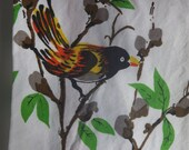 Flame Birds and Pussy Willows Vintage Tea Towel