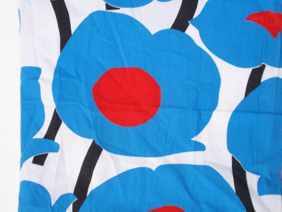 Funky Mod Blue and Red Poppy Vintage Fabric