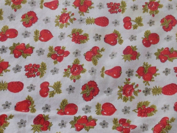 SALE--Red Fruit and Flowers Vintage Tablecloth