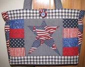 """Large Quilted Tote """"One Nation Under God"""""""
