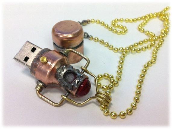 Steampunk 16GB USB Flash Drive Model 452 Necklace in a Tin Box