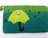 Needle Felted Wallet - Lime Umbrella with Aqua, Teal and Green