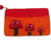 Needle Felted Wallet Summer Orange and Red Mushrooms