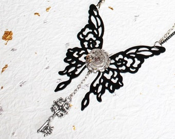 The Necromancer's Web of Love Steampunk Necklace - Black Butterfly on Rare Vintage Watch Movement - Key Steampunk Necklace Gift