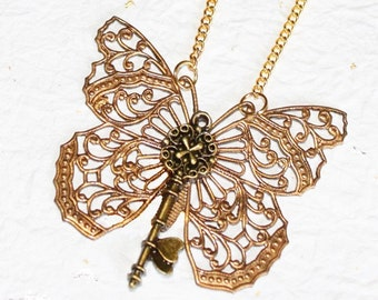 Gateway to the Ancient Myth Steampunk Necklace - Butterfly Key Steampunk Necklace  - Butterfly Necklace Gift For Her