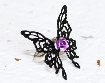 Steampunk Butterfly Ring (Adjustable) - DREAM EATER Black Butterfly Steampunk Ring - Gothic Lolita Ring - Christmas Gift for Her