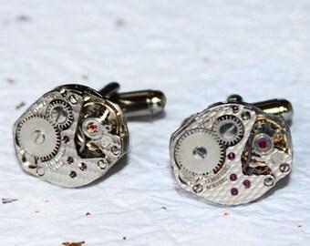 Steampunk Cufflinks - Matching Damaskeening Silver Vintage Swiss Watch Movement Men Steampunk Cufflinks Cuff Links Wedding Gift
