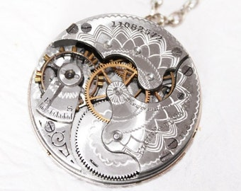 Steampunk Necklace - Captivating 90+ yrs old GUILLOCHE ETCHED ELGIN Antique Pocket Watch Movement Silver Men Steampunk Necklace Wedding Gift