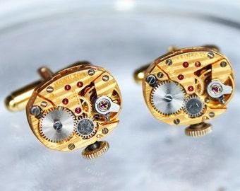 Wedding Gift - HAMILTON Steampunk Cufflinks -Exotic GOLD PINSTRIPE Vintage Watch Movement - Matching Men Steampunk Cufflinks Cuff Links Gift