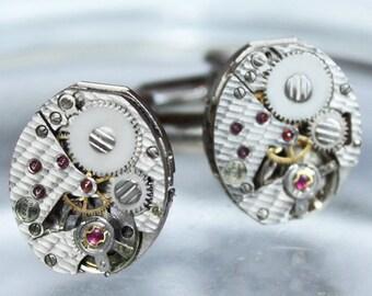 TISSOT Steampunk Cufflinks - Amazing Luxury Swiss TEXTURED Vintage Watch Silver Movement - Matching Wedding Gift Men Steampunk Cufflinks