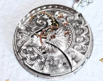 Steampunk Necklace - RARE 123 yrs old Silver Guilloche Etched Antique Pocket Watch Movement Men Steampunk Necklace - Jewelry Wedding Gift
