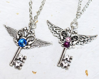 COUPLE Steampunk Necklace - 2 Silver Wing Heart Key Steampunk Necklaces - COUPLE JEWELRY - Wedding Gift for Couple