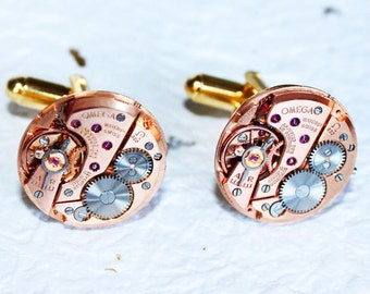 OMEGA Steampunk Cufflinks - Rare Rose Gold GENUINE OMEGA Luxury Swiss Watch Movement Men Steampunk Cufflinks Cuff Links - Wedding Gift Men