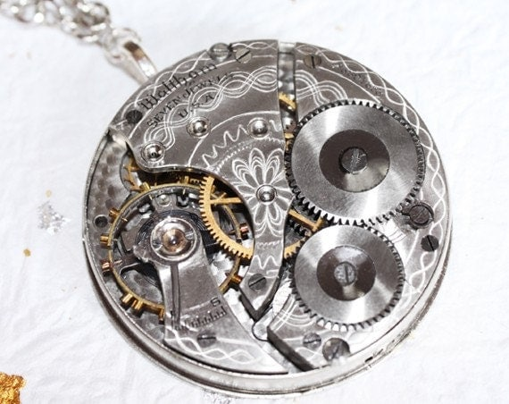 Steampunk Necklace - AMAZING Waltham Antique Pocket Watch Movement Men Steampunk Necklace - Silver Guilloche Etched Wedding Gift