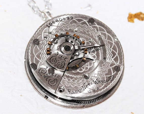 High End Steampunk Necklace - 108 yrs old Impressive Elgin Antique Pocket Watch Movement - Guilloche ENGRAVING Silver Men Steampunk Necklace