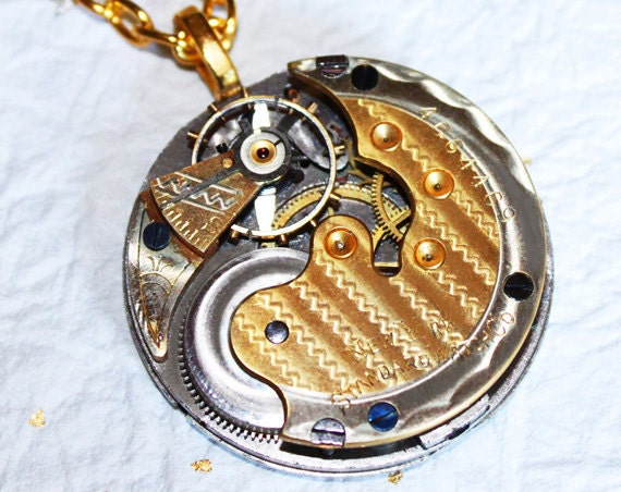 VERY RARE Steampunk Necklace - Spectacular 2 TONE Antique Pocket Watch Movement - Gold & Silver Guilloche Etched Men Steampunk Necklace Gift