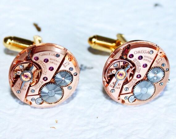 OMEGA Steampunk Cufflinks - Rare Rose Gold GENUINE OMEGA Luxury Swiss Watch Movement Men Steampunk Cufflinks Cuff Links - Wedding Gift Men