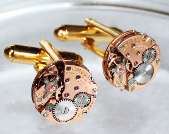OMEGA Steampunk Cufflinks: Rare GENUINE OMEGA Vintage Watch Movement Matching Men Steampunk Cufflinks / Watch Cuff Links Men Christmas Gift