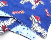 Cloth Napkins or Baby Wipes, Dalmation Puppy, Santa Hat, Candy Cane Striped Dog Bone, Royal Blue, Polka Dot, Reversible, Set of 4