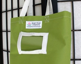 Childrens Tote Bag, Green and White, with Name Tag Holder by Bright Rose Creations