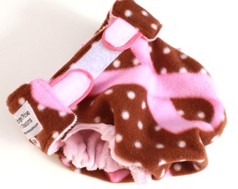 MEDIUM Fleece Diaper Cover, Fleece and Minky Wrap, Breast Cancer Awareness, Pink and Brown, Aplix