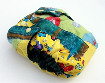 Clearance SALE Half Off SMALL Pocket Fitted Diaper, Scrappy Patchwork, Yellow and Green, Striped Cotton Velour, FREE microfiber insert