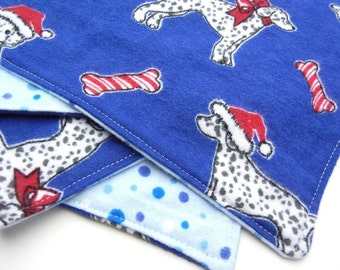 Cloth Napkins or Baby Wipes, Dalmation Puppy, Santa Hat, Candy Cane Striped Dog Bone, Royal Blue, Polka Dot, Reversible, Set of 4