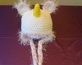 CLEARANCE Little Unicorn Hat White with Pink Trim and Golden Horn for 12 - 24 month olds