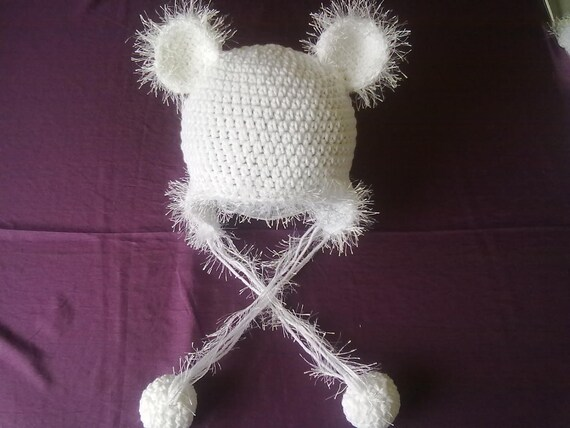 CLEARANCE Polar Bear Hat with Pom Poms Ready to Ship