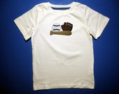 Baby one piece or  toddler tshirt - Embroidery and appliqued boys baseball gear