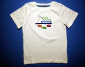 Baby one piece or  toddlers tshirt. - Embroidery and appliqued gone fishin