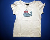 Baby one piece or  toddler tshirt - Embroidery and appliqued girls whale